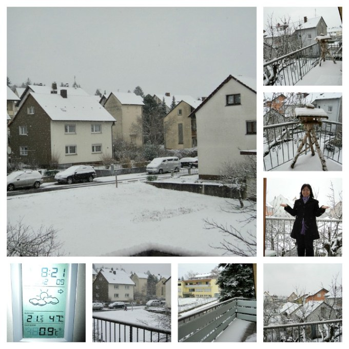 Pemandangan Salju Tebal Pertama dari Balkon Rumah di Sinshein. 02.12.2012