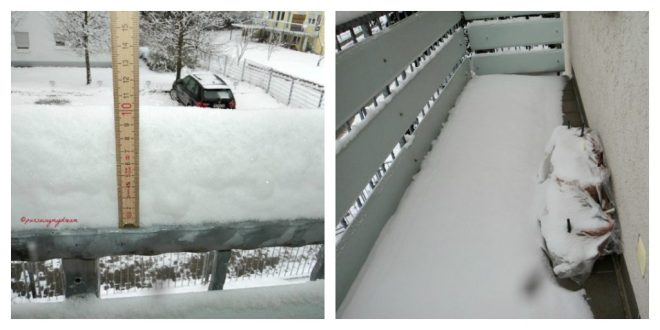Tebal Salju di Balkon Sudah 10 cm