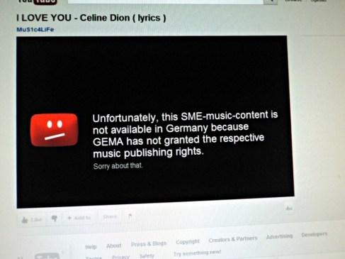 I Love You Celine Dion tapi Tidak bisa dilihat