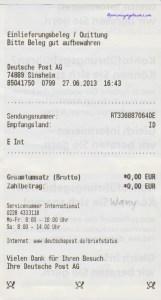 Contoh Resi Pengiriman dari Kantor Pos Jerman