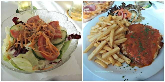 Ini menu pesanan saya, salad dan schnitzel mit pommes und soße