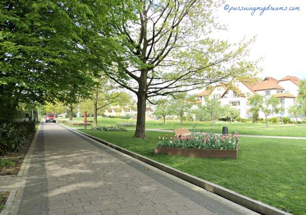 Taman Kota di Bad Rappenau, Jerman. Mobil yang didepan tersebut adalah Petugas Taman yang akan menyiram Tanaman. Selain Petugas tidak boleh mobil lewat sini