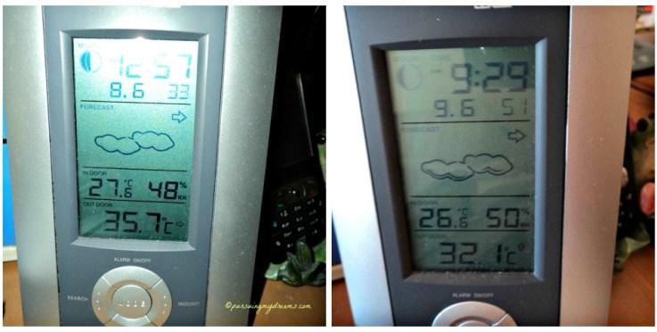 Musim Panas Enaknya Ngapain?. Temperatur Musim Panas 2014. Foto Kiri hampir jam 1 siang, suhu sedikit lagi nembus 26 derajat C. Kanan suhu pagi ini jam 9.30 pagi aja sudah 32 derajat ampunn dehh
