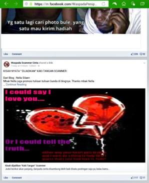 Ternyata tulisanku di posting seseorang ke FB grup Waspada Scammer Cinta