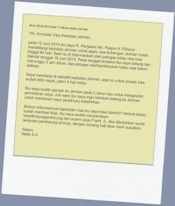Surat Cinta kedua untuk nanyain status Visa mama. isinya agak lebay gpp yang penting tenang kalau sudah dijawab