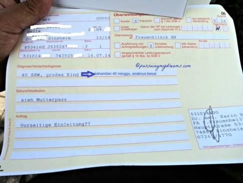 Surat  rujukan dari dokter kandungan buat ke rumah sakit