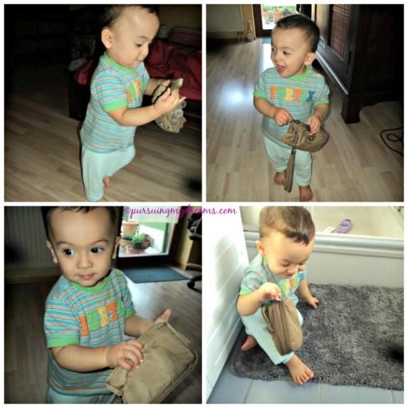 Perkembangan Benjamin Usia 11 ke 12 Bulan. Benjamin ambil dompet mama nih. Dari kamar tidur kabur ke kamar mandi. Susah sekali minta balik dompetnya tuh