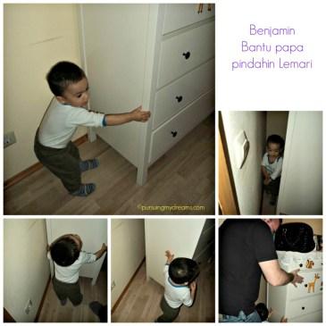Benjamin bantuin papa pindahin lemari nya Ben nih