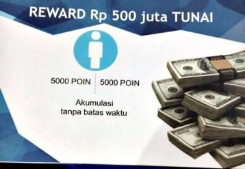 Bonus 500 juta