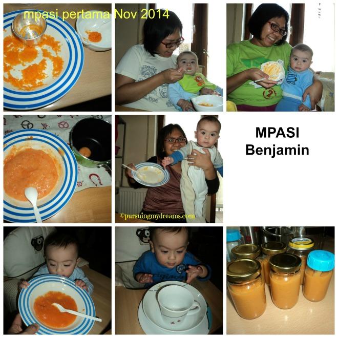 Cerita Benjamin dan Urusan Makanannya. MPASI Benjamin, pertama kali kasih wortel 2 sendok. Minggu berikutnya porsi makin ditambah, berikutnya campur kentang dll