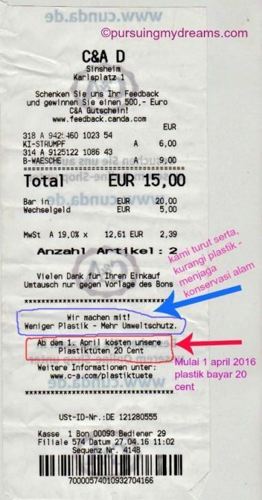 Struk pembelian di Jerman. Plastik bayar 20 cent, klo dirupiahkan Rp.3000