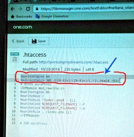 Setelah berada di htaccess masukkan kode untuk ganti Permalink Blog. Kode taruh dibagian paling atas