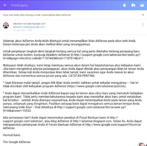 Email Pemberitahuan diterima jadi publiser Adsense