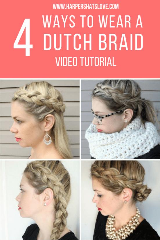 DIY a Dutch Braid in 4 easy hair styles