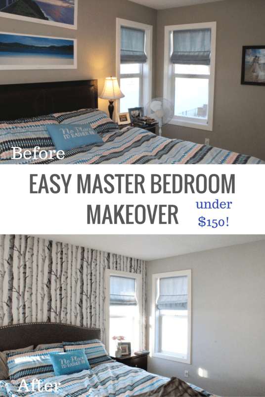 Easy DIY wallpaper and paint bedroom makeover!
