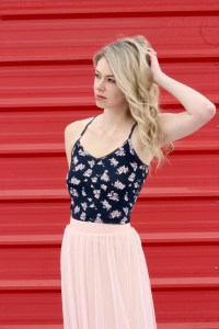 OOTD look inspiration for under $100! Tulle skirt, floral tank.