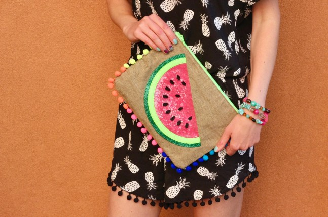 Summer Watermelon clutch and pineapple romper