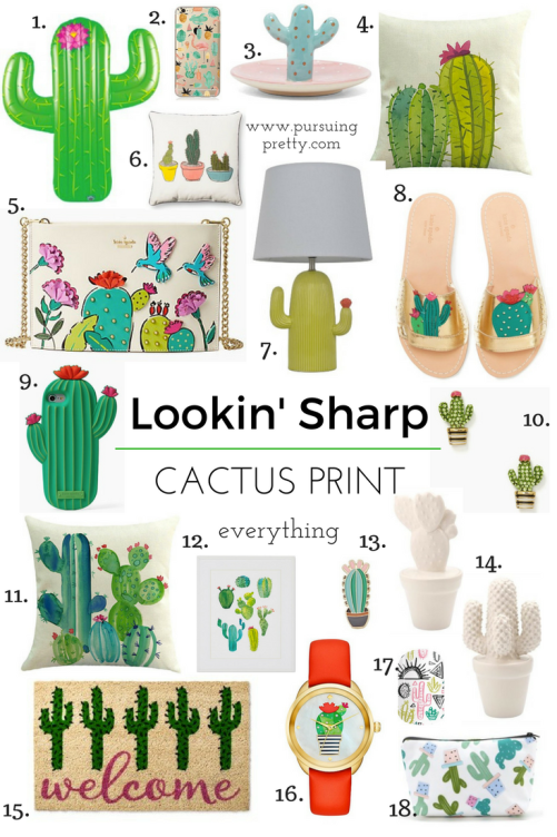 Cactus print accessories - shoes, home decor, purses, jewelry, phone cases