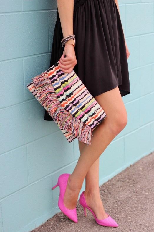 Little Black Dress outfit ideas- kill it with accessories - pink heels, Taj clutch