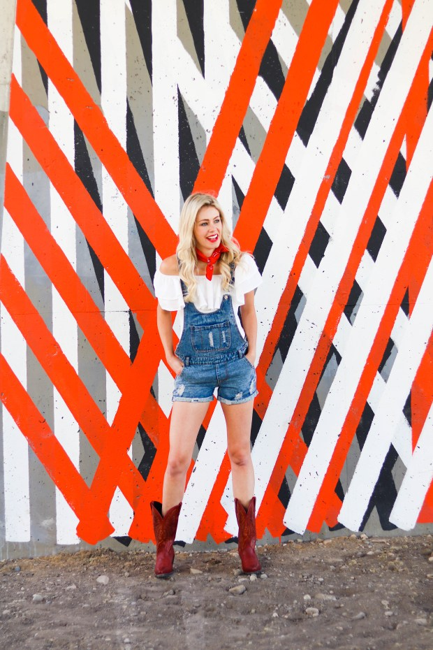 Calgary Stampede Style - Outfit Inspiration for the Cowgirl! OVerall shorts, off-the-shoulder shirt, red bandana, red cowboy boots - #fashion