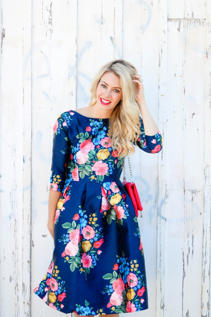Take Summer into Fall with this navy floral garden party dress from Chicwish - ootd - outfit ideas #style #fashion