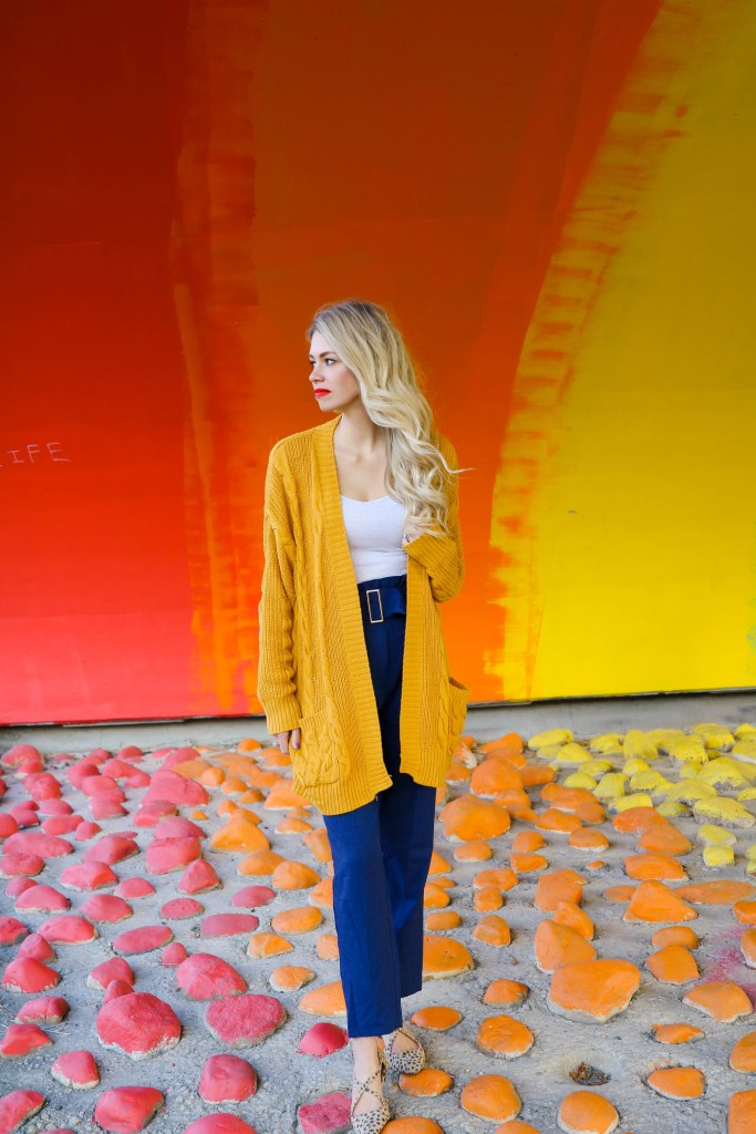 Fall Fashion Outfit Ideas- mustard yellow cardigan and high waited ruffle pants - the best colours for fall