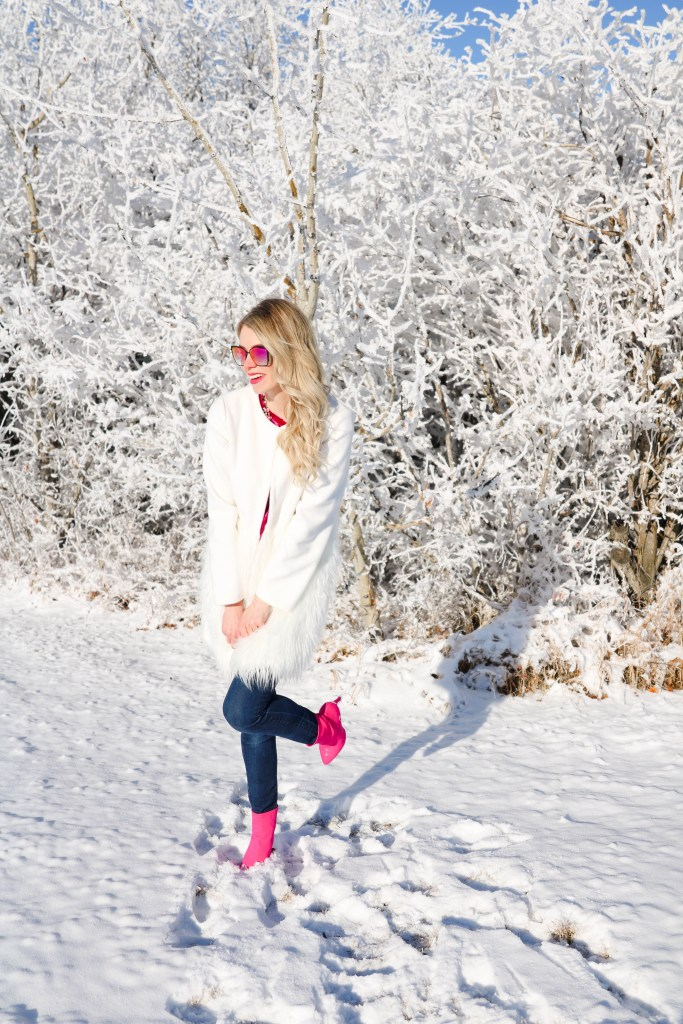 How To Wear Winter White - Winter Outfit ideas - pink velvet shirt, pink sock boots and faux fur white coat
