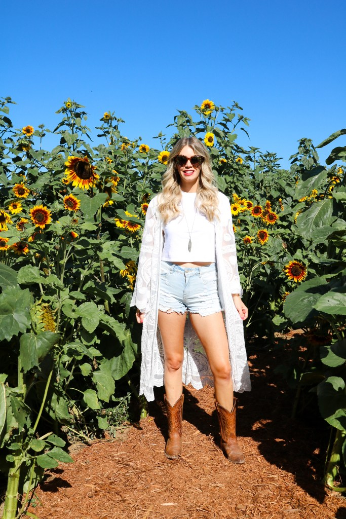Fall outfit ideas - lace kimono, distressed denim shorts, white tee, cowboy boots - sunflower fields outfit - style inspiration