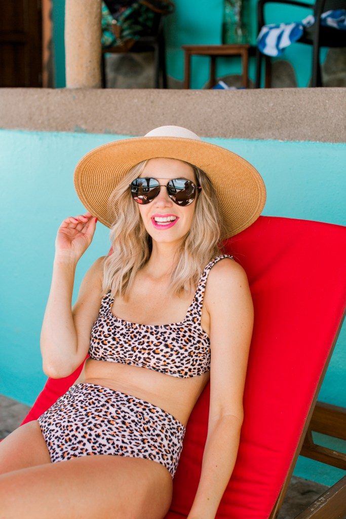 Target Leopard Swimsuit - two-piece bathing suit under $35 - high-wasted bikini bottoms from Target