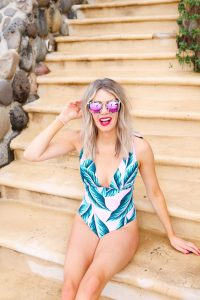 Vacation swimwear - affordable bathing suits from Cupshe - Pink palm leaf one-piece suit - glasses from DIFF Eyewear