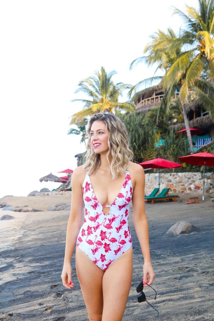 Affordable swimwear - CupShe bathing suits - flamingo one-piece - Bachelor in Paradise hotel, Playa Escondida, Sayulita, Mexico