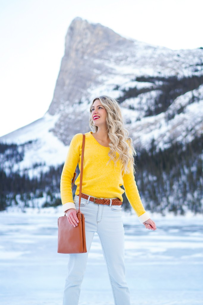 Joe Fresh women - soft, cuffed, yellow sweater, light jeans, camel accessories! Trends for 2020 - Canadian fashion blogger #ootd #canada #spring #style #fashion