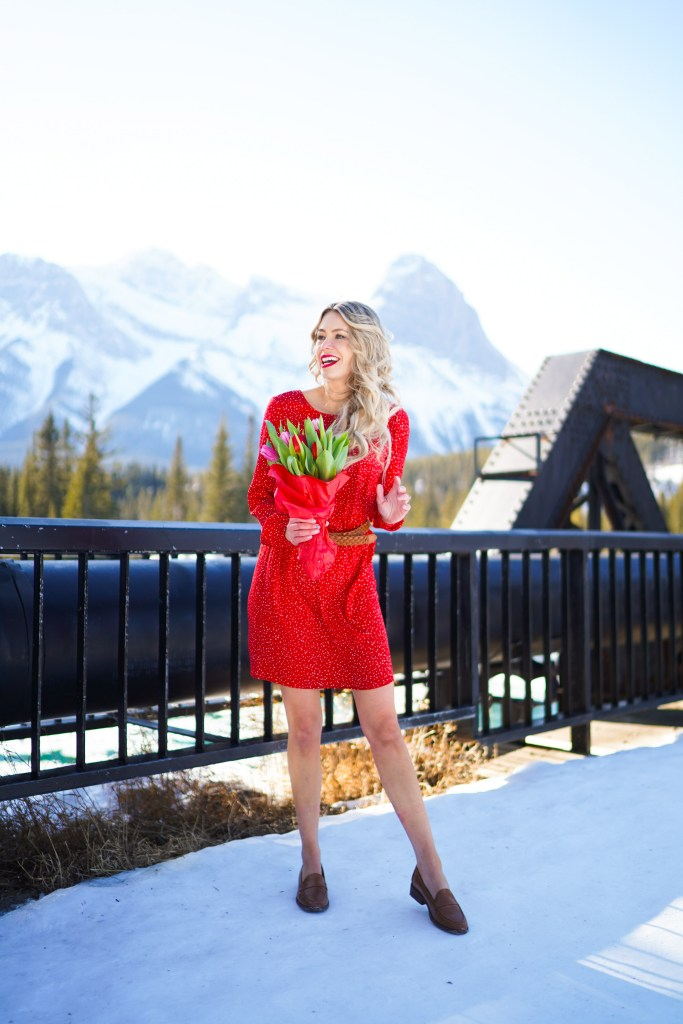 Joe Fresh dresses - red satin polka dot dress from Joe Fresh - Canmore, Alberta landscape #outfitideas #outfit #spring #2020 #trends