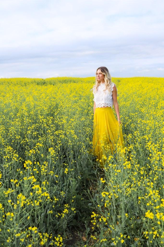 Canola Fields outside of Calgary, Alberta - fashion flower field photoshoot