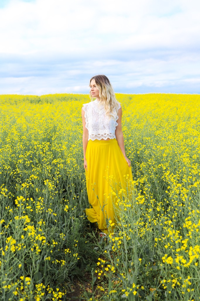 Photoshoot in Alberta Canola Fields in July and August