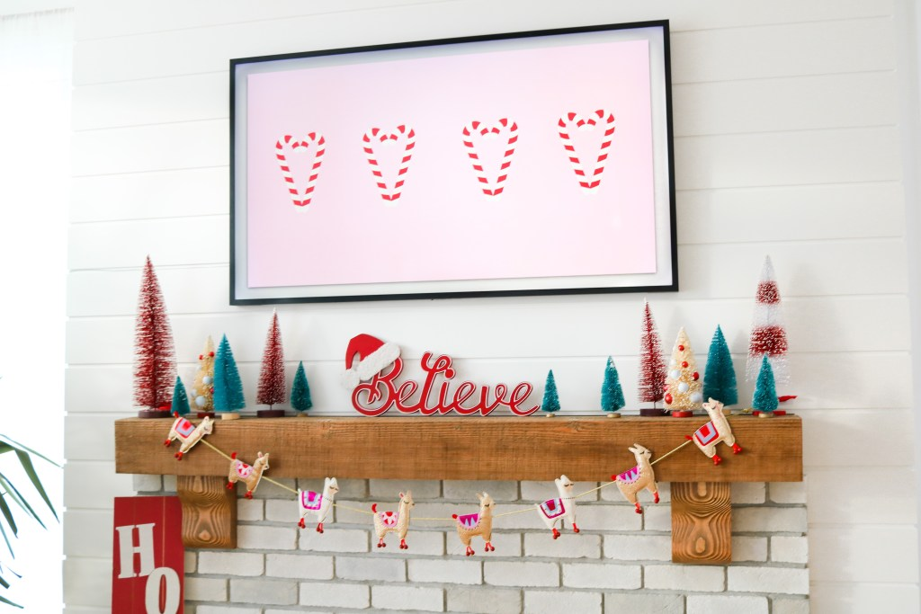 Colourful Christmas Mantle ideas for decorating a modern farmhouse