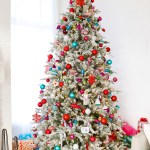 Red Pink And Teal Christmas Tree Decorations Pursuing Pretty