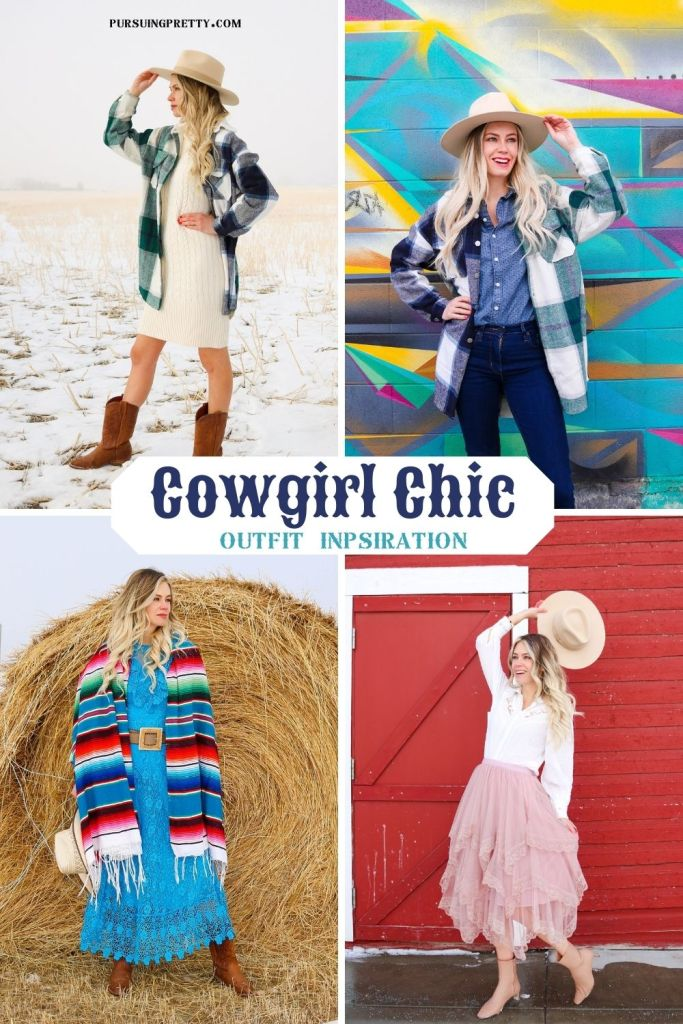 Cowgirl Chic Outfit ideas from Shein - lace dress, belt, cowboy boots and hat - Yellowstone outfit inspiration