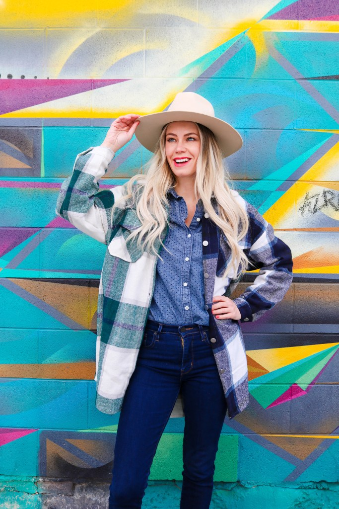 Country Girl Chic Style - plaid shacket, denim shirt, high waisted jeans - felt fedora - easy cowgirl fashion for 2021