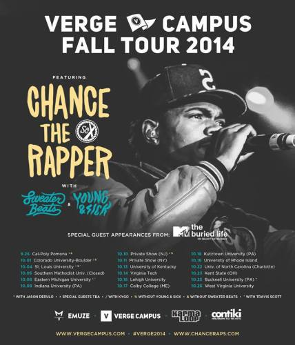 Chance The Rapper Fall 2014 College Tour