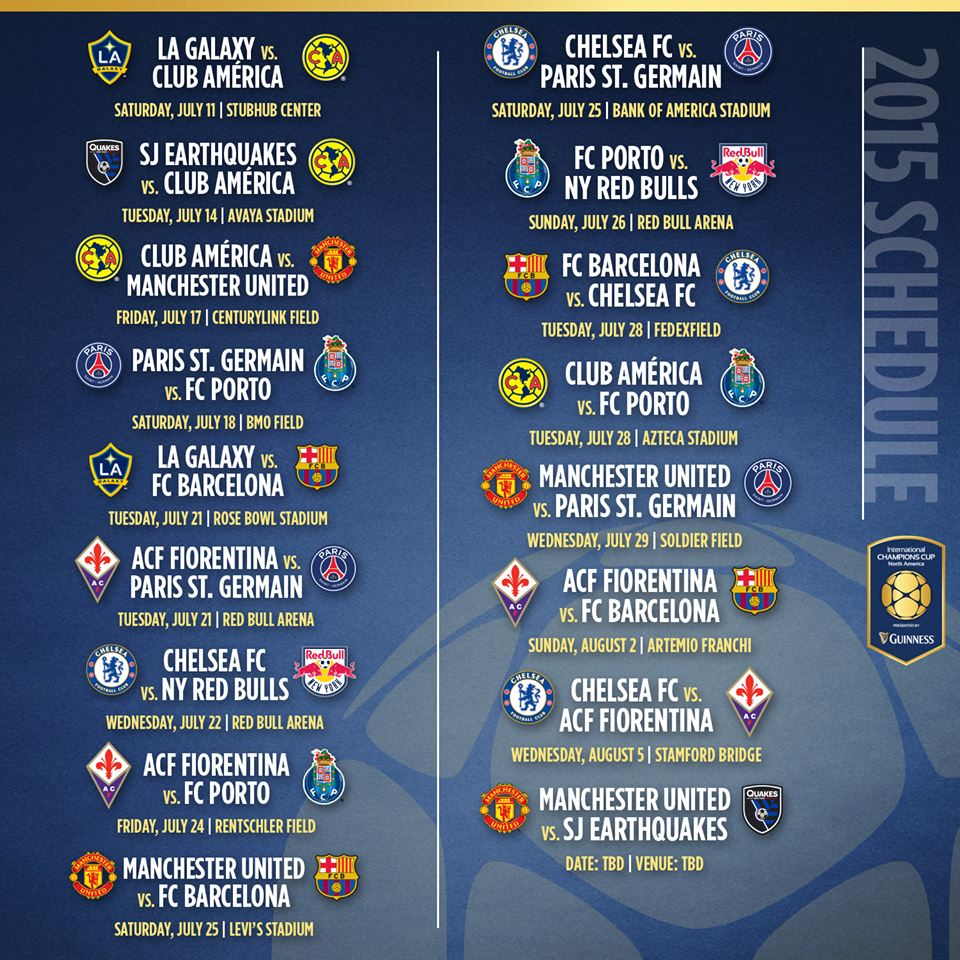 The opening match of the inaugural guinness inter national champions - International Champions Cup Announces 2015 Schedule Feat Manchester United Barcelona Psg Pursuit Of Dopeness