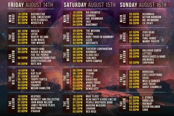 Summer Set 2015 Schedule