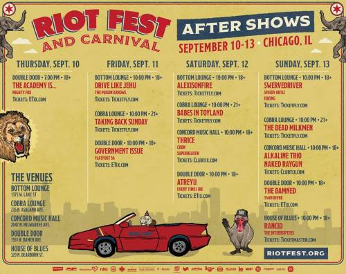 Riot Fest 2015 After Shows