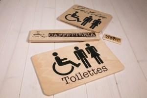 Insegne di legno - Toilette e Caffetteria