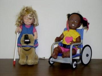 dolls with white cane wheelchair