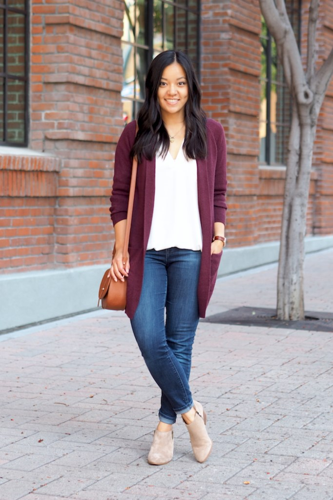 fall outfit maroon cardigan