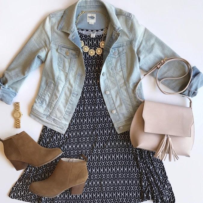 Printed Dress + Booties + Denim Jacket