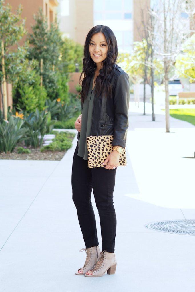 olive top + leopard clutch + black leather jacket