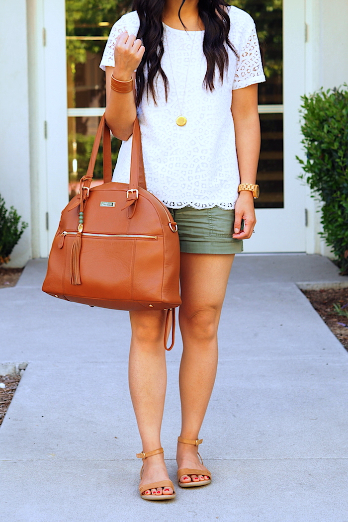 white lace top + olive utility shorts + tan sandals + tan accessories
