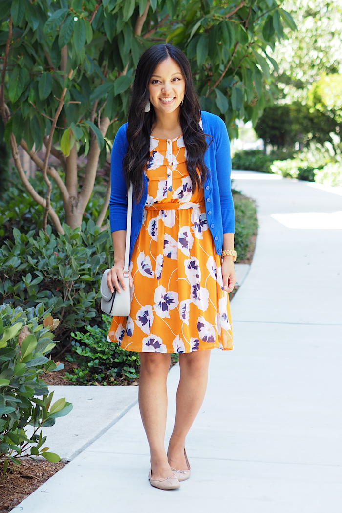 orange floral print dress + blue cardigan + nude flats